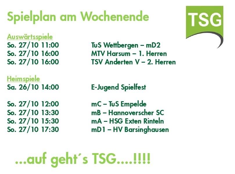 TSG Spielplan 26./.27.10.2019