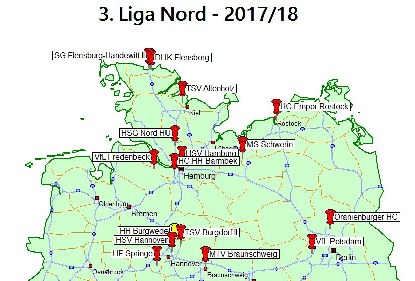 Landkarte 3. Liga Nord